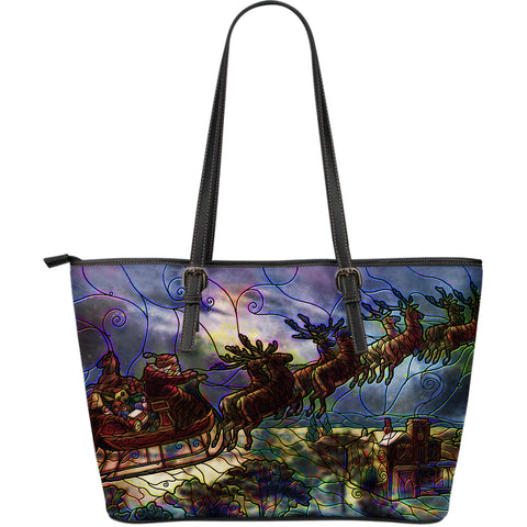 Santa Stained Glass Large Leather Tote