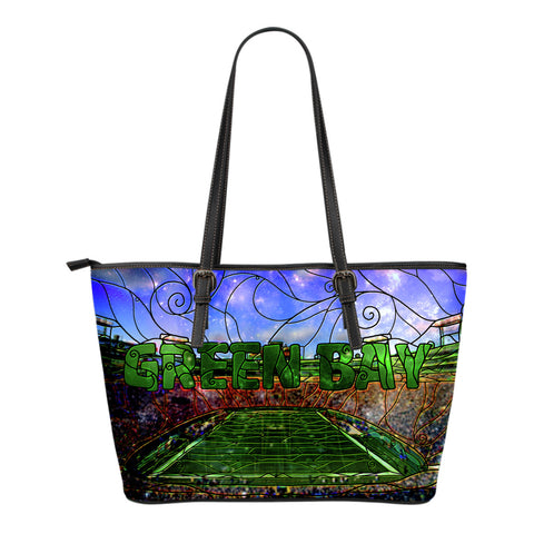 Green Bay Football Stained Glass Small Leather Tote