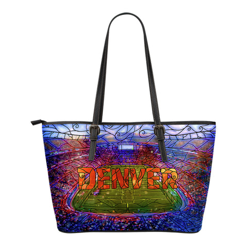 Denver Football Stained Glass Small Leather Tote