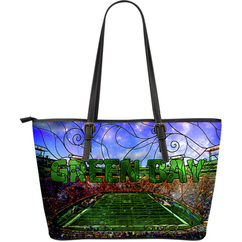 Green Bay Football Stained Glass Large Leather Tote