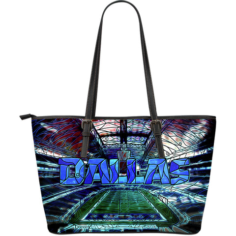 Dallas Football Stained Glass Large Leather Tote