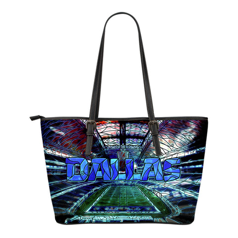 Dallas Football Stained Glass Small Leather Tote