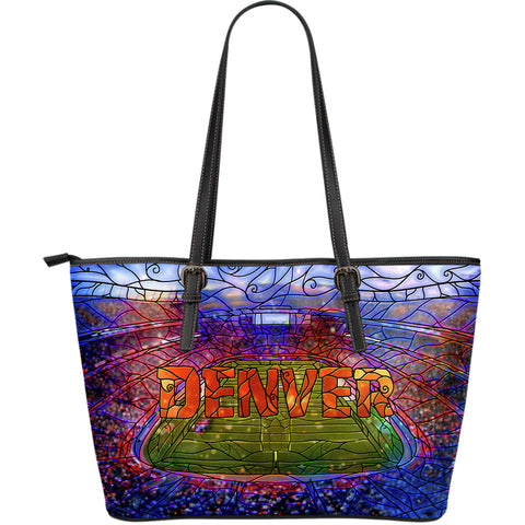Denver Football Stained Glass Large Leather Tote
