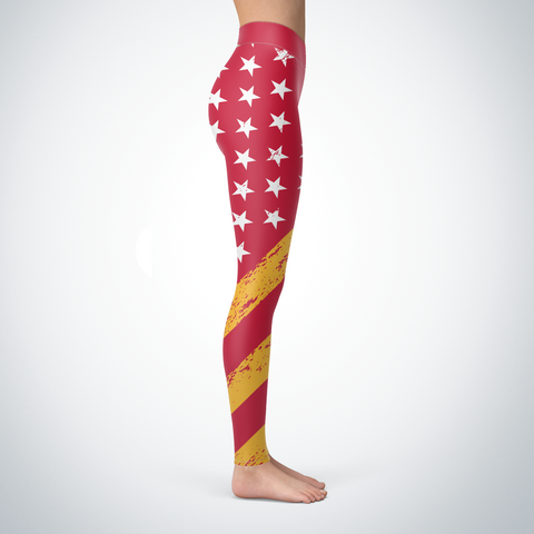 KC Football American Flag Leggings