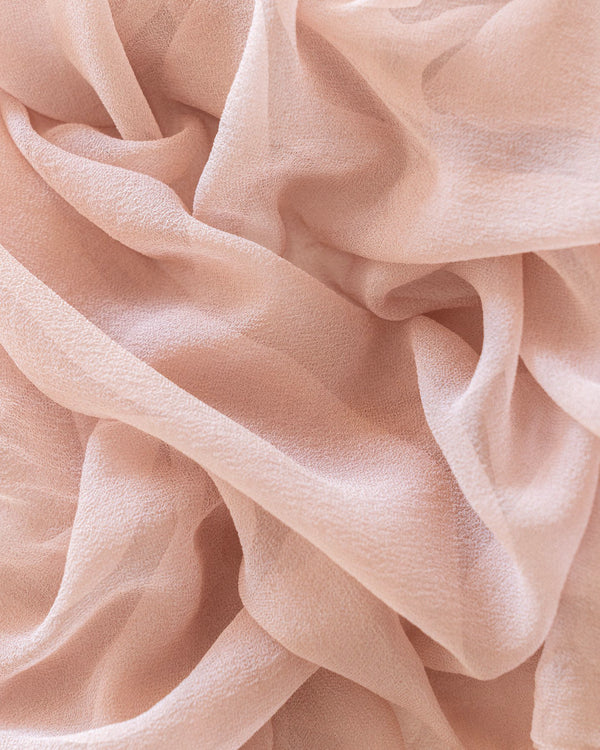 Tono + co Gossamer Silk Textile in Peach. Perfect for styling, tabletop design, detail work, or as a table runner. Find your inspiration through color and silk. Lovingly hand-dyed in Santa Ana, California and available in 24 signature colors. Check out our website for more styling, flat-lay, and color tips.