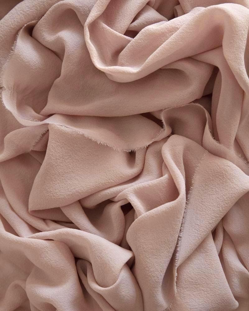 Tono + co Classic Silk Textile in Peach. Perfect for styling, tabletop design, detail work, or as a table runner. Find your inspiration through color and silk. Lovingly hand-dyed in Santa Ana, California and available in 24 signature colors. Check out our website for more styling, flat-lay, and color tips.