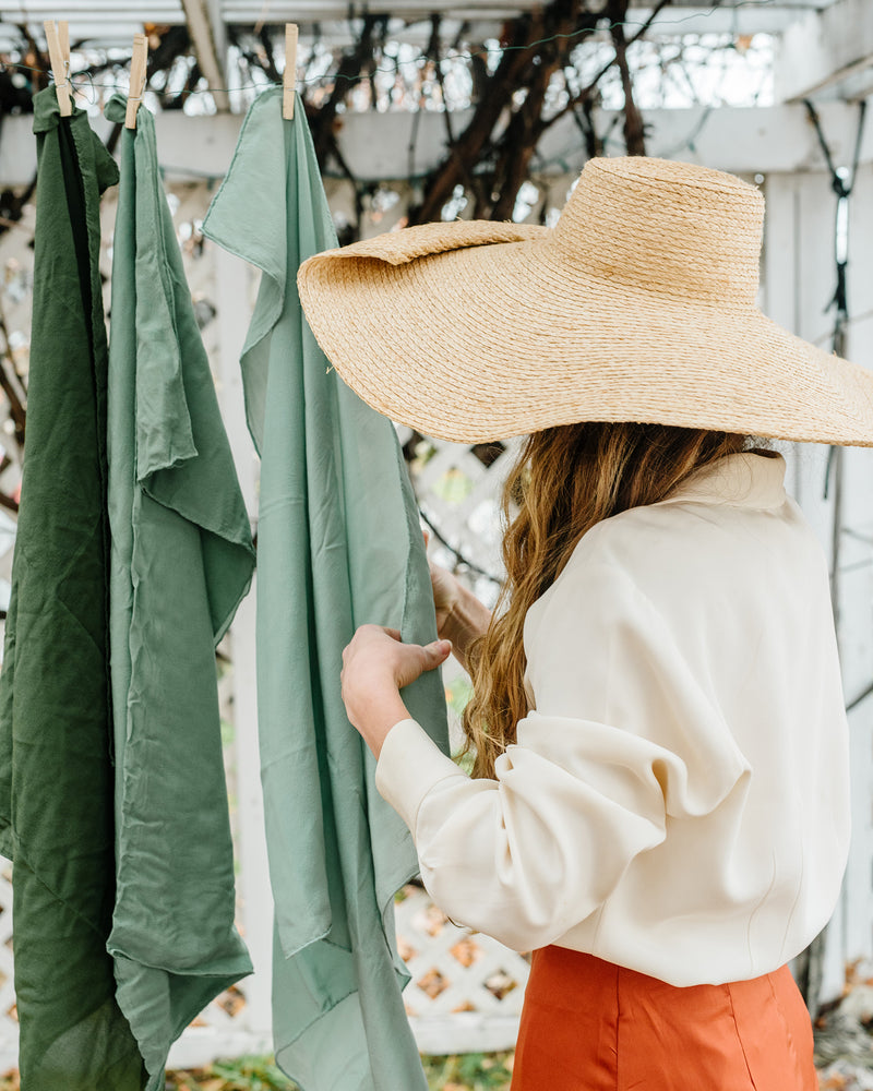 Tono + co Scout Silk Scarf in Sage. Lovingly hand-dyed in Santa Ana, California and available in 24 signature colors. Styled by Erica Kopp of Stay Co and photographed by Tess Comrie for our Fall 2018 Lookbook. Check out our website for more style and color inspiration.