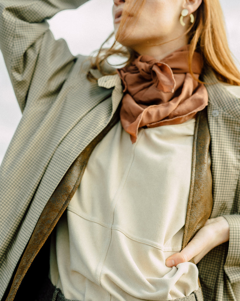 'The Classic' Washable Silk Scarf in Copper