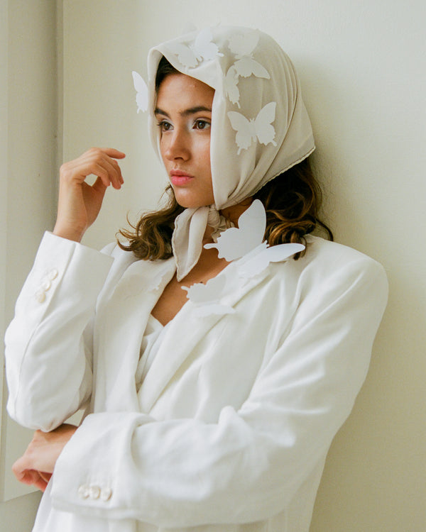The Tono + co Classic Scarf in Bone makes the perfect everyday accessory. Lovingly hand-dyed in Santa Ana, California and available in 24 signature colors. Styled by Erica Kopp of Stay Co for our Spring 2019 lookbook | image by Tess Comrie