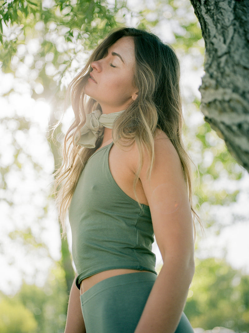 Tono + co Scout Silk Scarf in Sage. Lovingly hand-dyed in Santa Ana, California and available in 24 signature colors. Styled by Erica Kopp of Stay Co and photographed by Tess Comrie for our Summer 2019 Lookbook. Check out our website for more style and color inspiration.