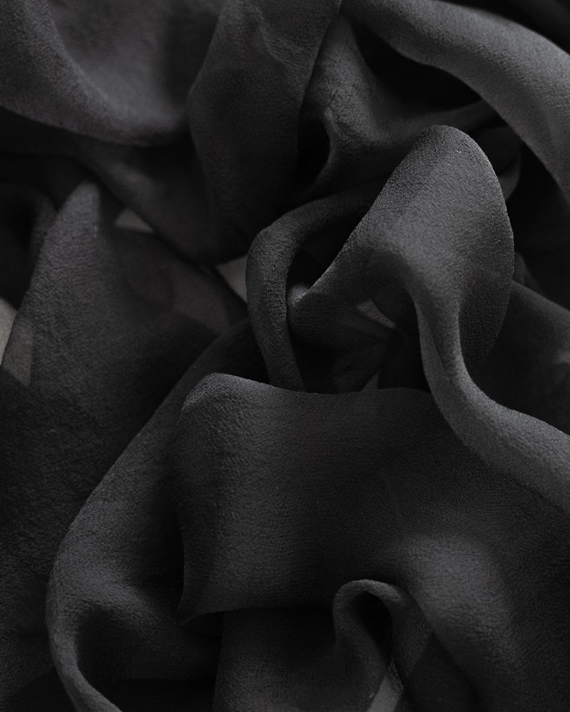 Tono + co Gossamer Silk Textile in Charcoal. Perfect for styling, tabletop design, detail work, or as a table runner. Find your inspiration through color and silk. Lovingly hand-dyed in Santa Ana, California and available in 24 signature colors. Check out our website for more styling, flat-lay, and color tips.