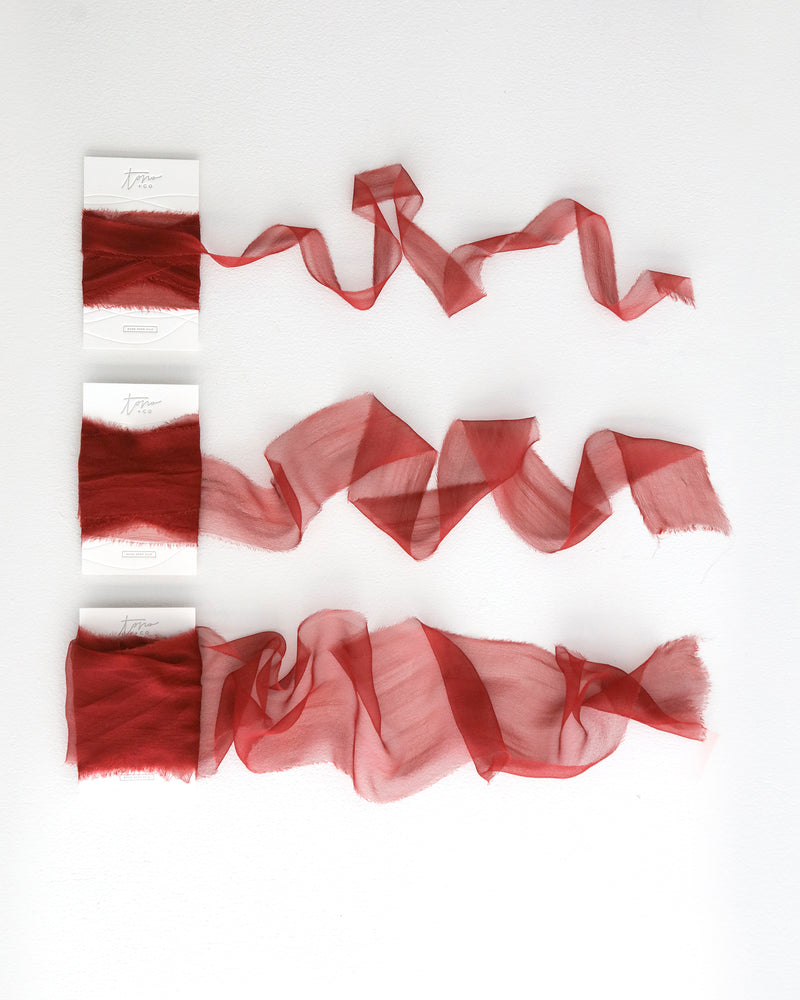Tono + co Gossamer Silk Ribbon in Limited Edition Poppy. Lovingly hand-dyed in Santa Ana, California and available in 24 signature colors. Check out our website for more color theory, styling, and wedding inspiration.