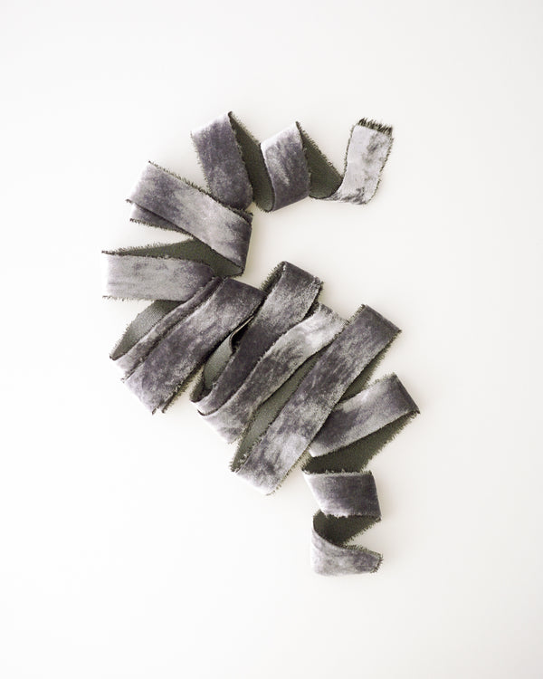 Charcoal Silk Velvet Ribbon