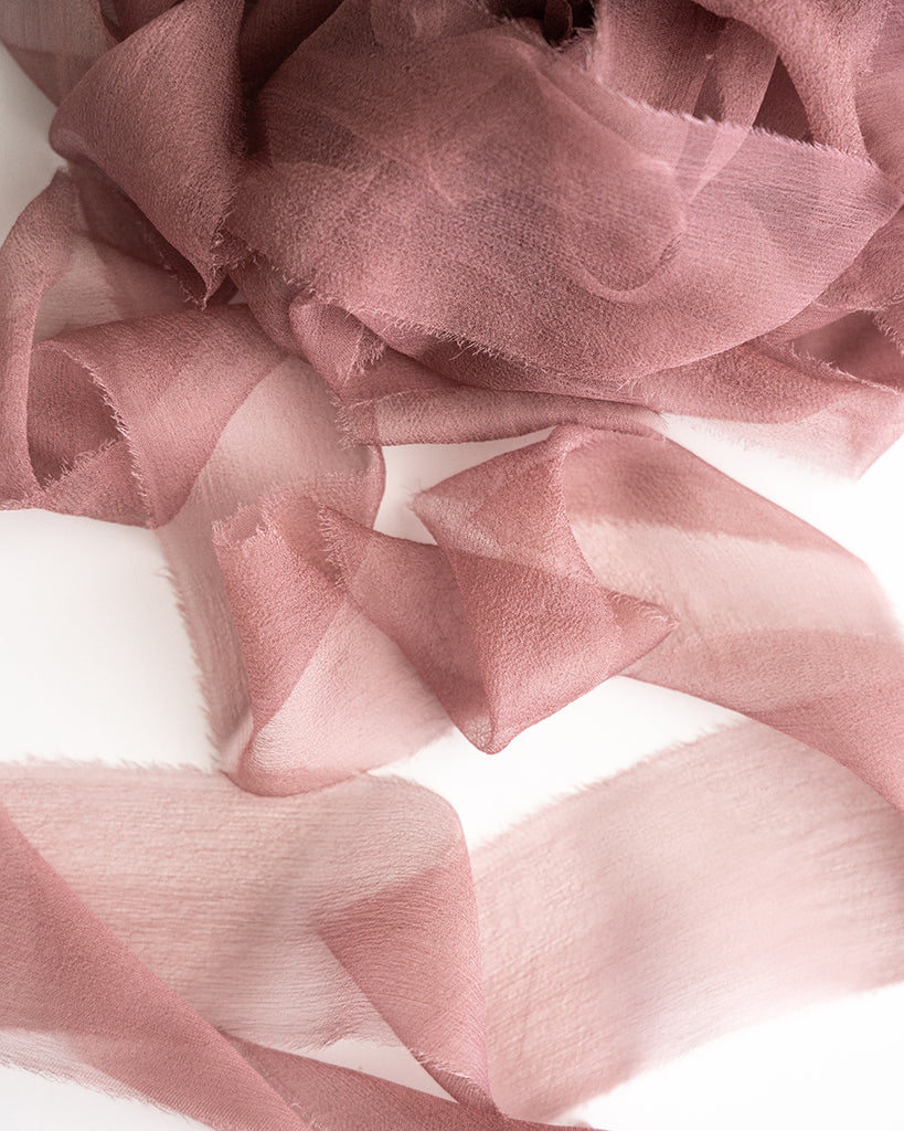 Hand Dyed Dusty Mauve Silk Velvet Ribbon 3 Widths to choose from