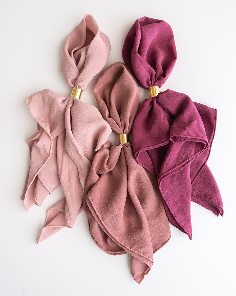 'The Classic' Washable Silk Scarf in Peony