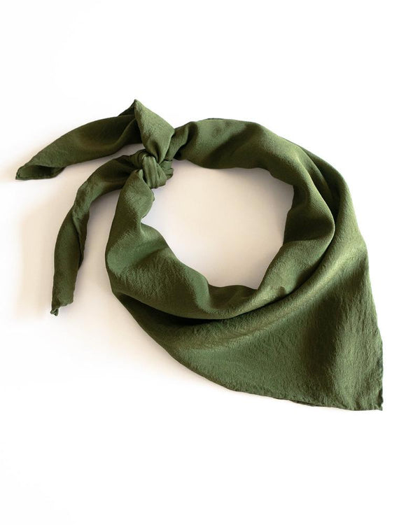 'The Classic' Washable Silk Scarf in Olive