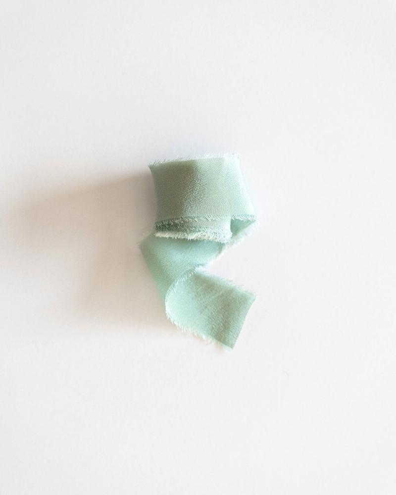 Tono + co Classic Silk Ribbon in Limited Edition Celadon. Lovingly hand-dyed in Santa Ana, California and available in 24 signature colors. Check out our website for more color, styling, and bridal inspiration.