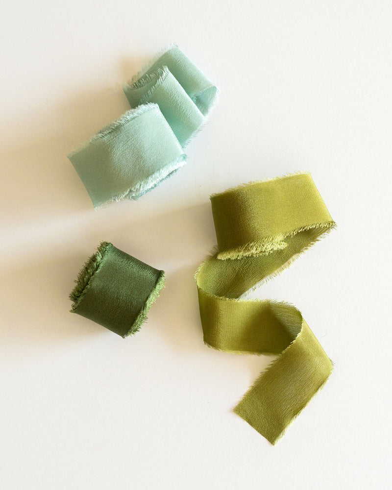 Tono + co Classic Silk Ribbon in Limited Edition 'The Color Green.' Lovingly hand-dyed in Santa Ana, California and available in 24 signature colors. Check out our website for more color, styling, and bridal inspiration.