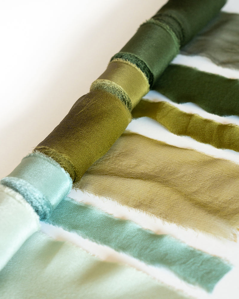 Tono + co Classic Silk and Gossamer Ribbons in Limited Edition 'The Color Green.' Lovingly hand-dyed in Santa Ana, California and available in 24 signature colors. Check out our website for more color, styling, and bridal inspiration.