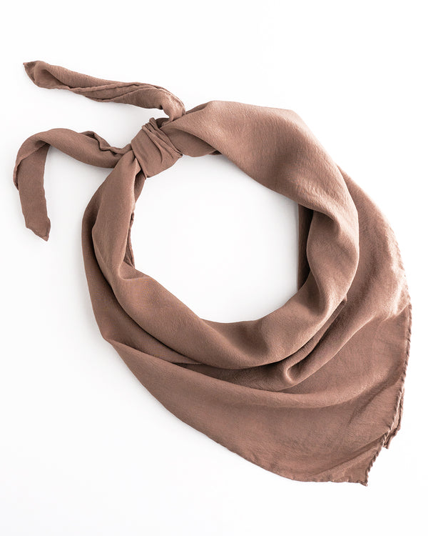'The Classic' Washable Silk Scarf in Mushroom