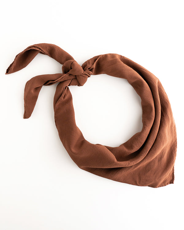 'The Classic' Washable Silk Scarf in Pecan
