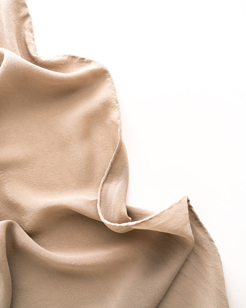 'The Classic' Washable Silk Scarf in Sand