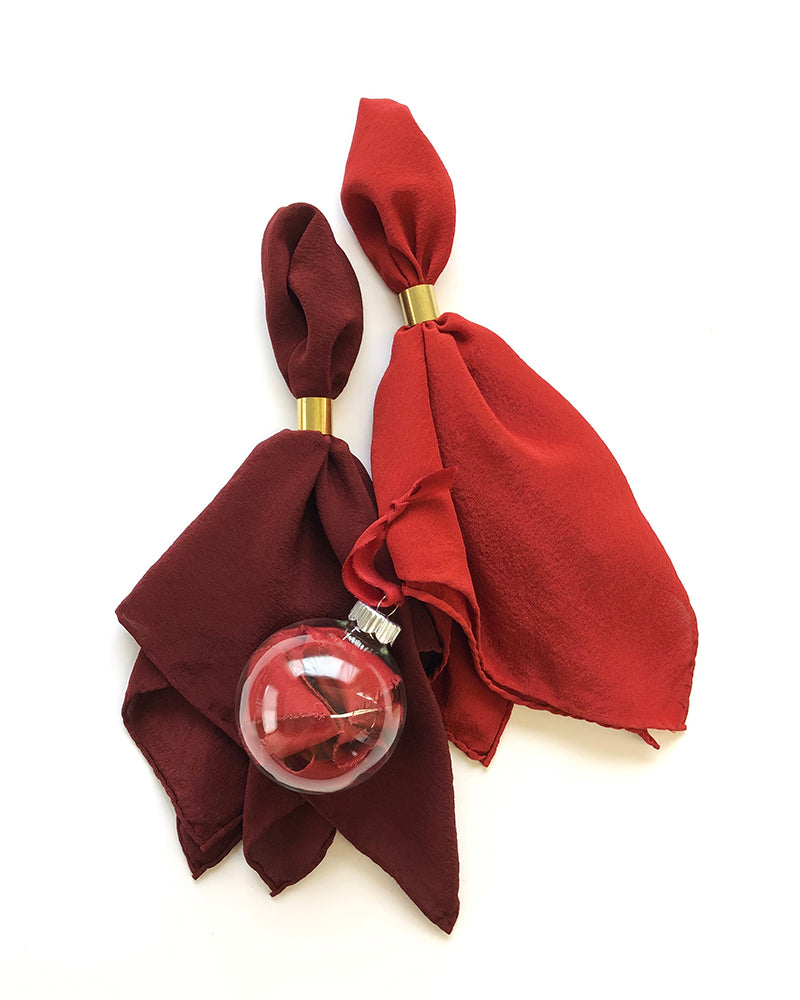 'The Hankie' Washable Silk Scarf in Garnet