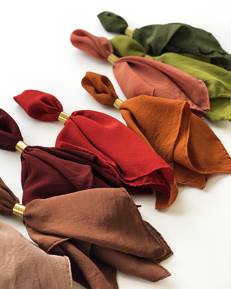 'The Hankie' Washable Silk Scarf Olive