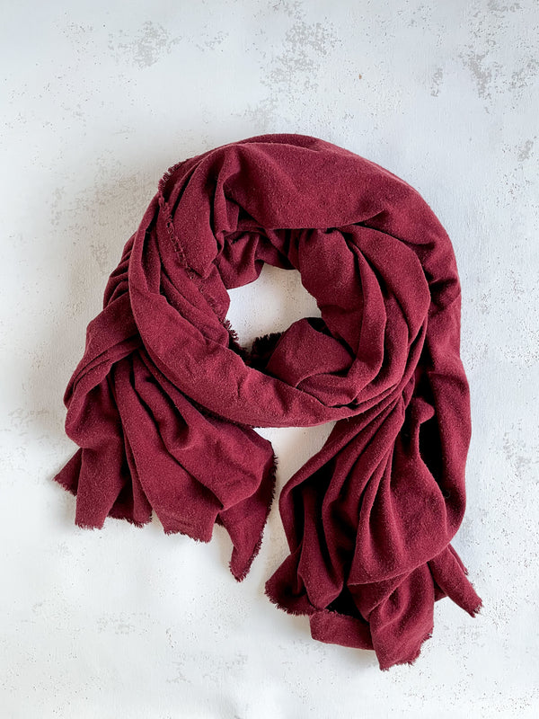 Washable Silk Blanket Scarf in Garnet