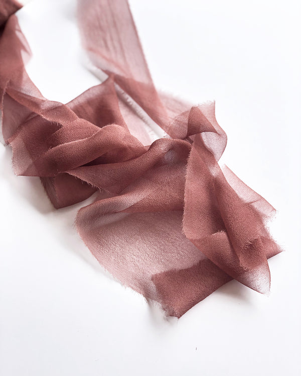 Red Copper Silk Gossamer Ribbon 047
