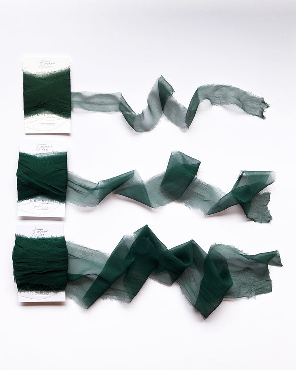 Dark Green Silk Gossamer Ribbon 054