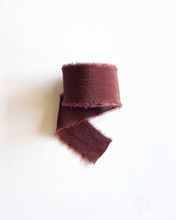 Red Brown Silk Classic Ribbon 073