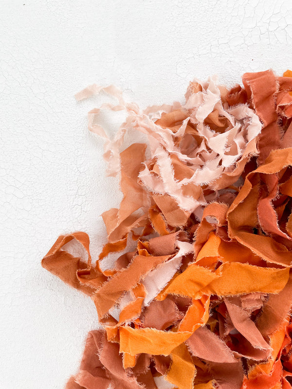 Silk Ribbon Remnants in Orange