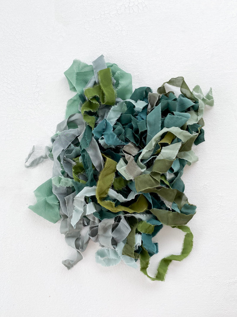 Silk Ribbon Remnants in Green