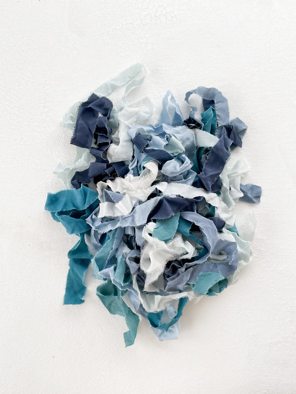 Silk Ribbon Remnants in Blue