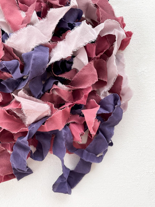 Silk Ribbon Remnants in Purple