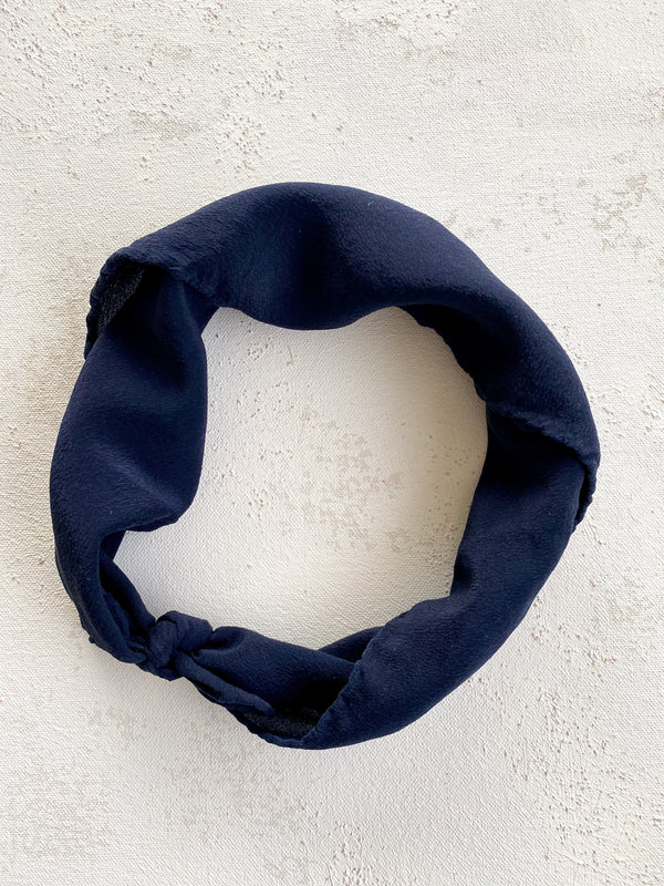Dark Blue Silk Scarf 'The Hankie' 090