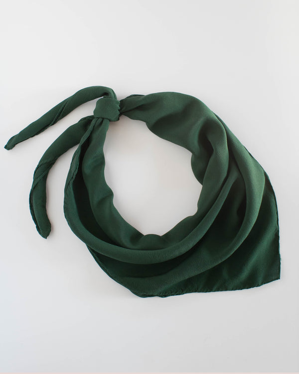 'The Classic' Washable Silk Scarf in Moss