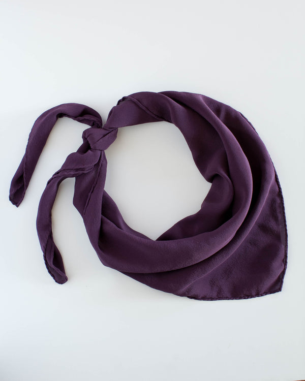 'The Classic' Washable Silk Scarf in Aubergine