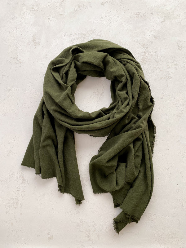 Washable Silk Blanket Scarf in Olive