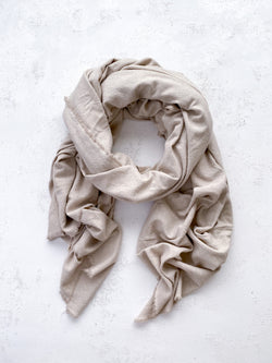 Washable Silk Blanket Scarf in Bone