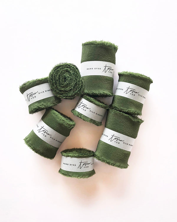 Olive Green Silk Classic Ribbon 041