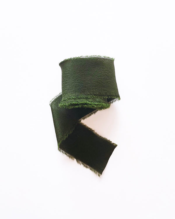 Dark Olive Green Silk Classic Ribbon 040