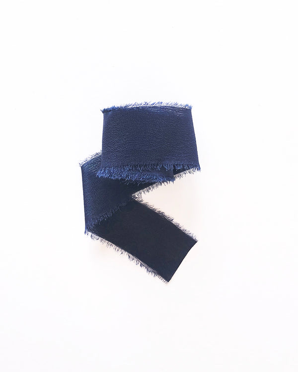 Deep Navy Blue Silk Classic Ribbon 036