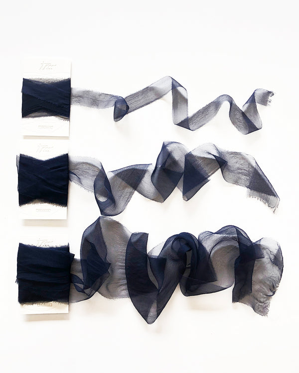 Deep Navy Blue Silk Gossamer Ribbon 037
