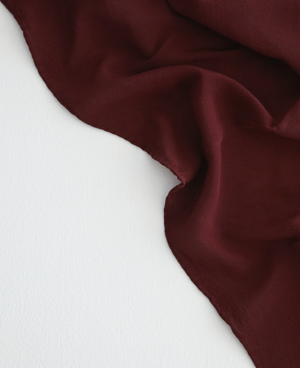 'The Classic' Washable Silk Scarf in Garnet