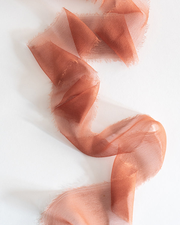 Tono + co Limited Edition Terra Cotta in Gossamer Silk Ribbon. View the new fall favorites featuring Champagne + Terra Cotta + Rust, lovingly hand-dyed in Santa Ana, California. Check out our website for more color, wedding, and styling inspiration.