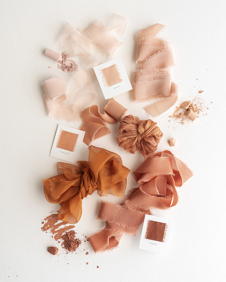 Tono + co Limited Edition 'The Color Orange' in Gossamer Silk Ribbon. View the new fall favorites featuring Champagne + Terra Cotta + Rust, lovingly hand-dyed in Santa Ana, California. Check out our website for more color, wedding, and styling inspiration.