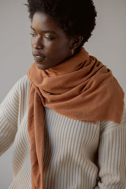 Washable Silk Blanket Scarf in Rust