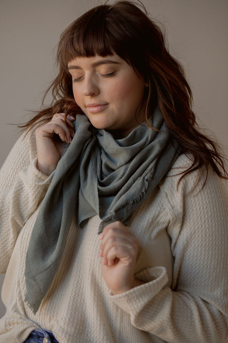 Washable Silk Blanket Scarf in Lake